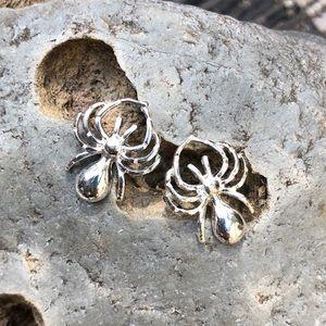 Jewelry - Silvertone Halloween Spider Earrings